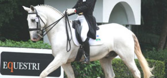 Lusitano Nilo VO lights Brazil's Olympic dressage torch for Rogério Clementino