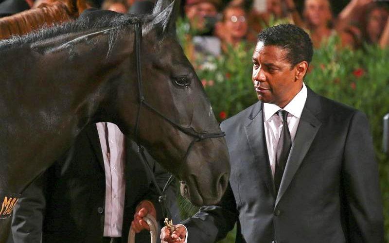 Denzel Washington desfila com cavalo na passadeira vermelha de Veneza