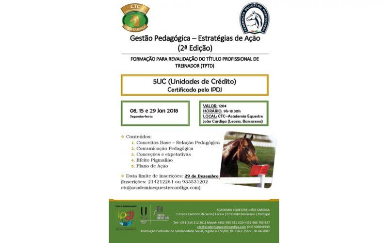 Calendário de Formação do Cardiga Training Center inicia 2018, com formação sobre Pedagogia
