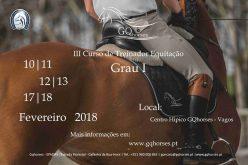 III Curso de Treinadores de Equitação Geral – Grau 1 (Ajudante de Monitor)
