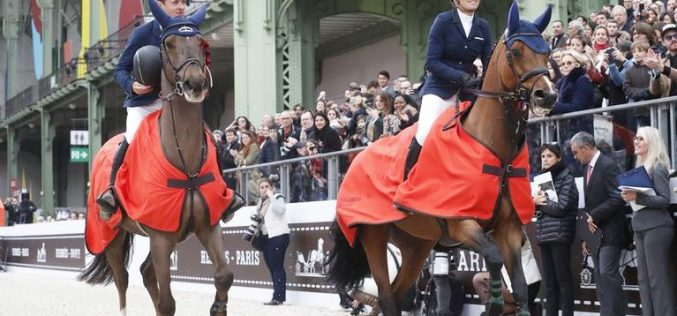 Bertram Allen and Edwina Tops-Alexander share the winners prize in Paris