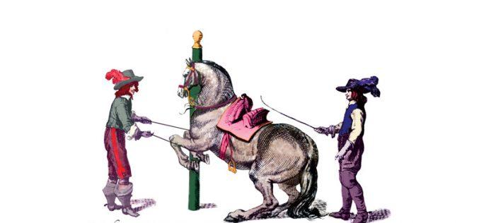 Lição de pôr o cavalo aos pilões